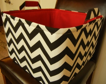 "Ex Large Toy basket 14""x14""x10""(choose BASKET & LINING color)-Toy Storage-Toy Bin-Fabric Storage Organizer-Baby Gift-Chevron-Black Zigzag"