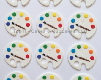 Fondant Cupcake Toppers - Artist Palette