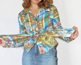 70s boho shirt. Vintage tied shirt. Art Deco print shirt. Size Large. Blue yellow pink shirt.