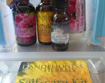 Self Care Kit: For Emotional First Aid with Heart Elixir, Tulsi Elixir, Yarrow Flower Essence, and Rose Relaxation Bath Fizzies