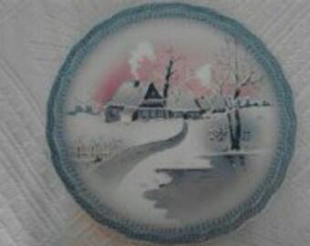 Vintage  German Plate, Snowy House, ECS