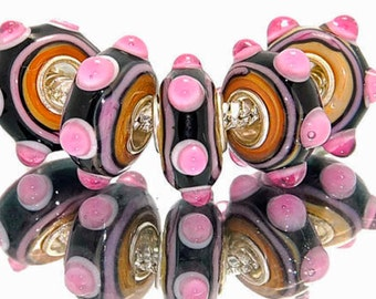 3D Pink  Black and Tan Lampwork Bead for  European Style Charm Bracelet -.925 Silver Core