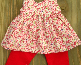 "Floral tunic/ dress for Waldorf Dolls 14"", 16"""
