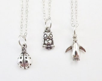 Tiny Sterling Silver Owl Necklace