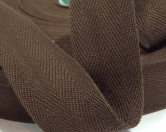 1 inch Cotton Twill Tape 10 yards Wholesale Herringbone Straps Binding Chocolate Brown