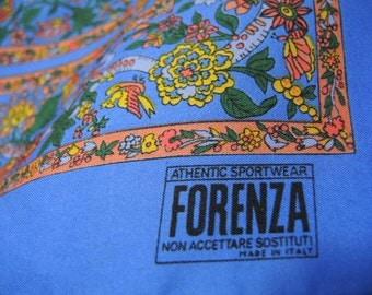 Vintage 1980s scarf Forenza periwinkle blue floral