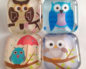 Owl Magnets, Refrigerator Magnets, Office decor, Fridge magnets, Locker magnets, Cubicle decor, Kitchen decor, Owl decor, Owl decorations
