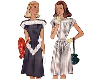 1940s Dress Pattern, McCall 6436, Square Neck, Cap Sleeves, Unusual Lace Inset Yoke, Chevron Skirt, 1946 Vintage Sewing Pattern Bust 33