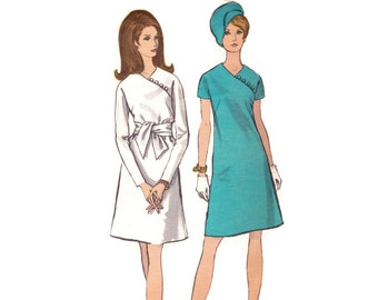 1960s Mod Dress Pattern, Vogue 7326, A-Line Dress with Asymmetrical Neckline, Tie Sash, Vintage Sewing Pattern, Bust 31.5