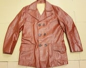 Free shipping - Brown double breasted leather jacket