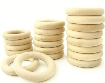 "20pcs Wooden Rings - 2 1/4"" Natural Wooden Teething Rings"
