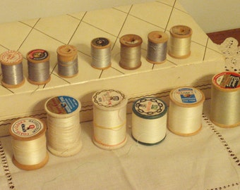 Wood Thread Spools Set of 13 White and Gray