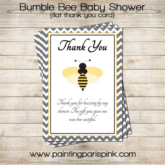Bumble Bee Baby Shower Thank You Card By Paintingparispink