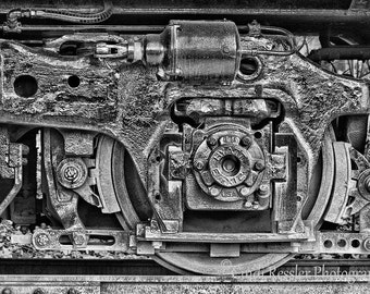 Train Wheel, Fine Art Photography, Black and White Photography, Train Photography