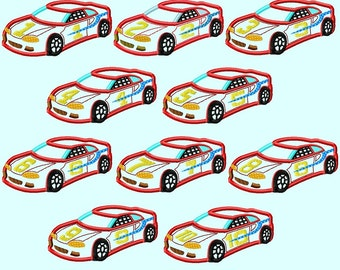 Red Race Car 1 to 10 Number Set APPLIQUE Embroidery Design 3 sizes INSTANT DOWNLOAD