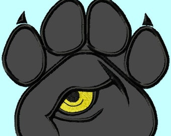 Panther Eye on Paw Applique Embroidery Design 3 sizes  INSTANT DOWNLOAD