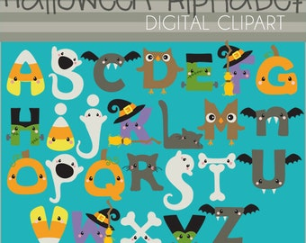 Halloween Alphabet Clipart -Personal and Limited Commercial Use- cute monogram set with letters