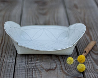 White Ceramic Tray, White Stoneware Tray, Winged Serving Tray, Decorating Plater,Modern Ceramic Tray, Wedding Gift