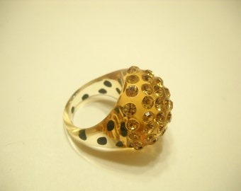 Gorgeous Amber Lucite Dome Ring Loaded With Amber Rhinestones (1878) 6 - 6.5