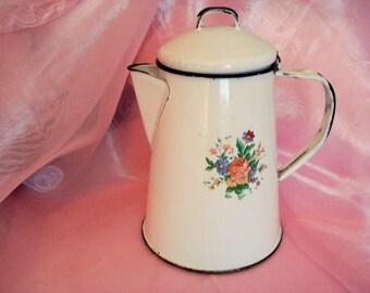 Vintage Shabby Coffee Pot Enamel Cottage Chic Ivory Floral Vintage Unique