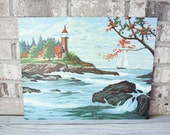 Vintage paint by number pbn lighthouse seascape ocean east coast new england beachfront painting art