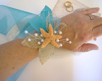 Starfish Corsage, Wrist Corsage, Ribbon Tie Wrist Corsage, Beach Wedding, Tropical Destination Wedding, Mother of Bride Groom
