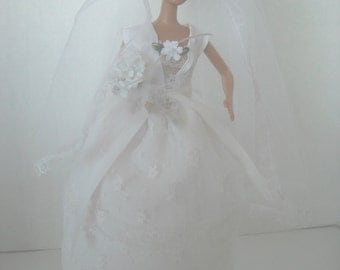 Barbie Lace Wedding Gown, with Veil and Accessories