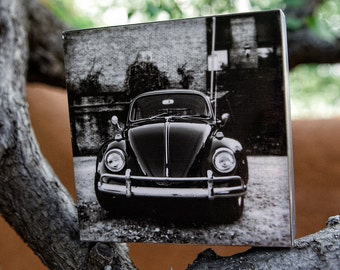 Volkswagen Beetle Photograph, Wood photo block. VW photograph, Wood block, ready to hang, mounted photo, home decor