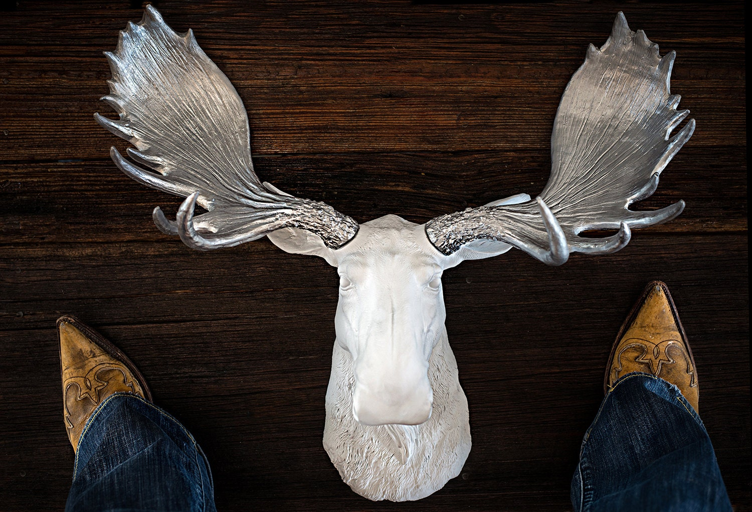 Faux moose head silver trophy mount with antlers by foundandsouled - Fake moose head mount ...