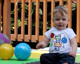 Boys Bouncy Balls Shirt,  Applique Boys Birthday T-Shirt or Bodysuit, 1st Birthday Shirt