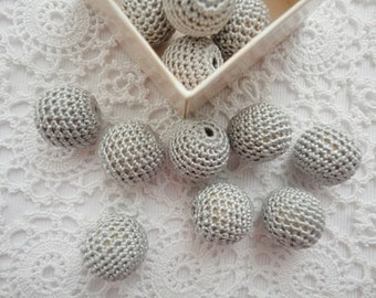 12 pcs- 16 mm beads-crocheted bead-gray beads-round beads-crochet ball beads-beads crochet-embellishment-wooden crochet cotton yarn beads