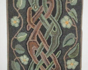 hooked rug,   ,  wool  on a linen  foundation,   green, brown and black,   floor rug, wall hanging, designed & hooked by me