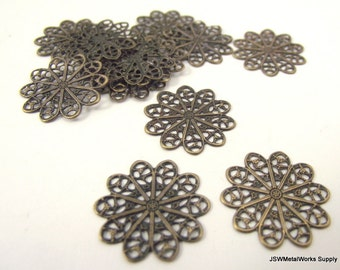 Antiqued Brass Filigree Flower Rounds, 18 mm Filigree Rounds, Brass Components, 50 Pieces