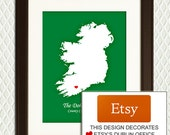 CHRISTMAS GIFT - Family Heritage - IRELAND - Personalized Map with Hearts - Or choose any country and any city eg. Dublin, Belfast