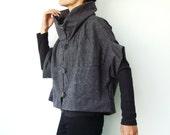 NO.85 Mottled Grey Cotton-Blend Cocoon Top, Trendy Unusual Jacket, Women's Jacket