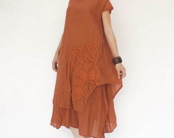 NO.146 Rust Cotton Double Layered Dress, Floral Appliqué Day Dress
