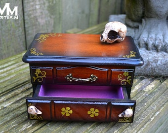 Kitten Skull wooden jewellery box with mirror and drawer by Mortiis.M