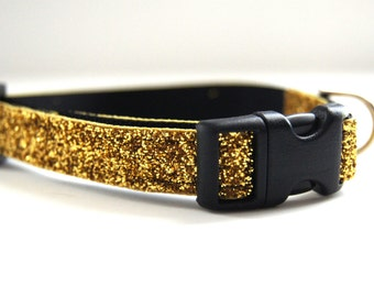 Dog Collar Sparkle Gold Adjustable Sizes (M, L, XL)