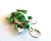 RESERVED for LORI - Green and White Enamel Frog Vintage Pendant