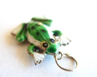 Green and White Enamel Frog Vintage Pendant