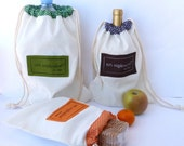 Muslin Bags, Holiday Party Favor Bags, Drawstring Bags, set of cotton sacks