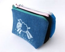 Pouch denim sheep set of 3 pouches small toilet bag