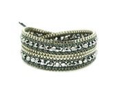 Wrap Bracelet  Grey Leather - Silver Color Beads