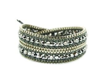 Wrap Bracelet  Grey Leather - Silver Color Beads