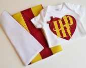 Girls' Harry Potter Baby Gift Set - Harry Potter Heart Bodysuit with Matching Burp Cloth - Harry Potter Inspired Baby Girls' Outfit