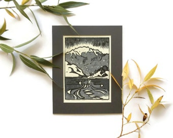 mountain river wood block print // great sand dunes landscape art