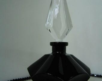 CZECH PERFUME BOTTLE / Cologne Dresser Bottle Decorative Vintage Black Glass Bohemian 1990s