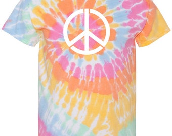 Hand Peace Symbol Tie-Dyed T-shirt