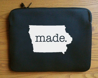 Iowa IA  Roots or Made Neoprene Laptop Sleeve 13 or 15 inches
