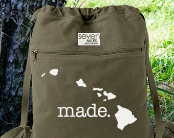 Hawaii HI Made Canvas Backpack Cinch Sack